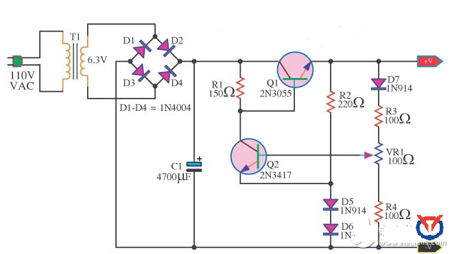 2n3055 linear regulated power supply circuit diagram